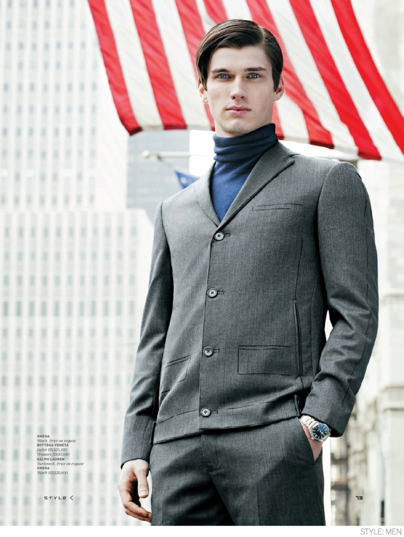 American model Bobby Nicholas takes us on a tour of the season's suiting in all their dynamic shapes for the pages of Style: Men. Photographed by Filippo Del Vita, Bobby takes to the streets of New York City, going Wall Street with tailored looks that are worth a second look. From Prada and Versace's loose silhouettes to the impeccable fit and quirky details of Bottega Veneta, stylist Elena Moussa takes us on quite the sartorial journey.