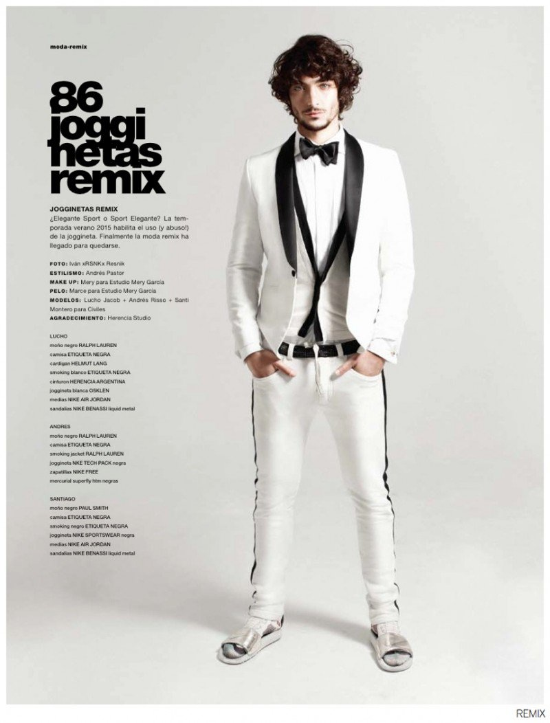 Ivan x RSNK x Resnik collaborates with stylist Andres Pastor for the latest issue of Argentinean fashion magazine Remix. Taking increasingly popular sweatpants and giving them a new perspective, Pastor outfits models Lucho Jacob, Andres Risso and Santiago Montero in eclectic ensembles that mix casual and formal attributes for a fun spin on typical fashion looks. From the double-breasted jacket to the floor-length coat, tailored options gain informal ground with the help of trendy sweatpants.