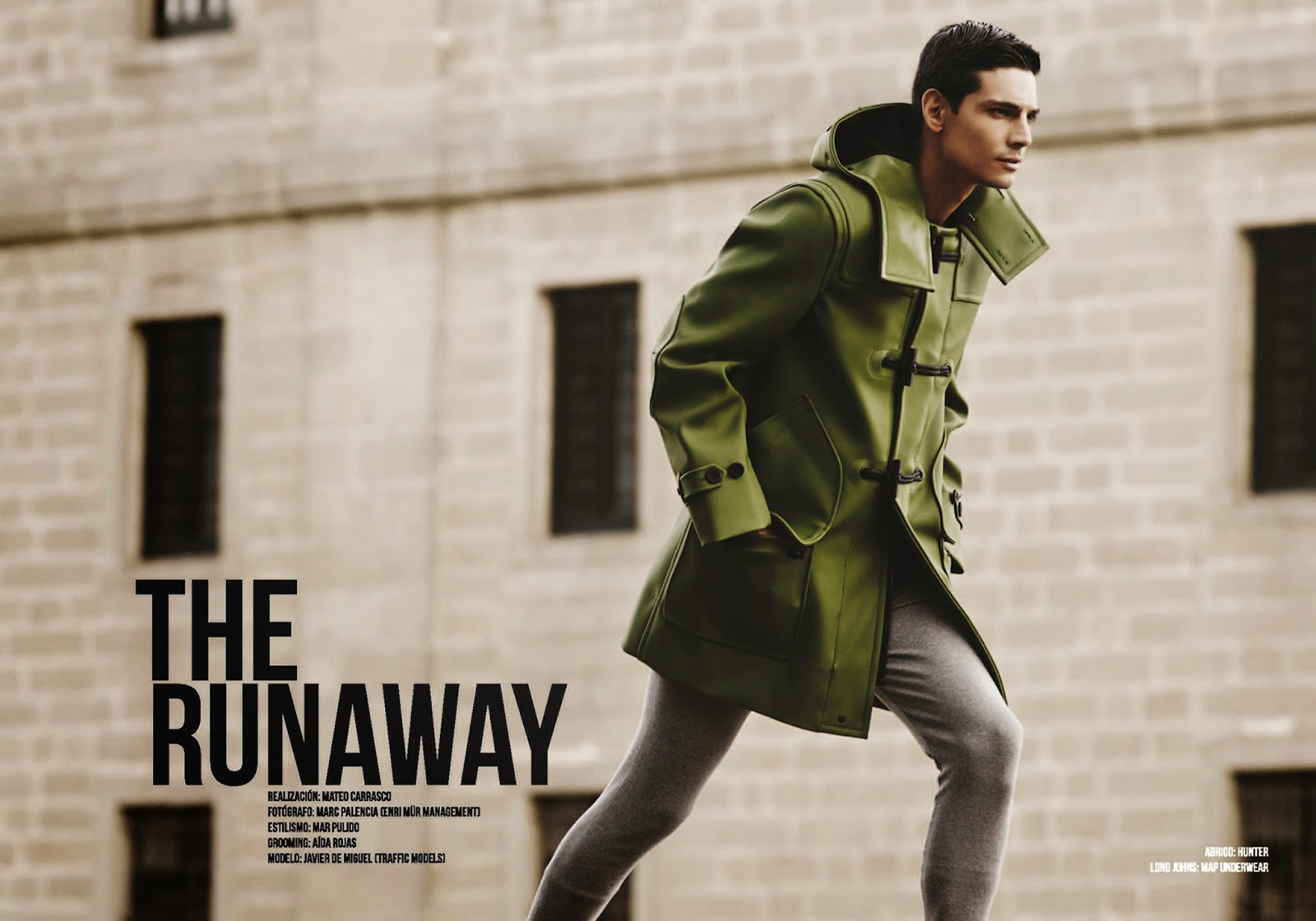 The Runway for Risbel Magazine, Created by Mateo Carrasco, photographed by Marc Palencia (Tenri Mür Management), styled by Mar Pulido, grooming by Aída Rojas and modeling by Javier de Miguel at Traffic Models.