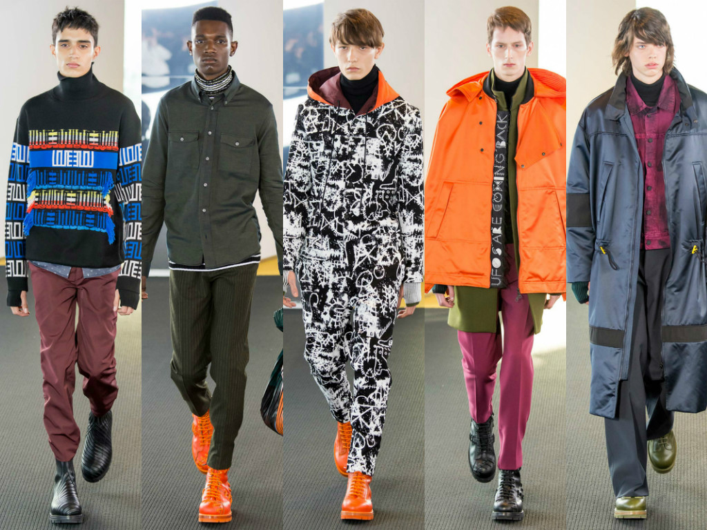 For the Fall-Winter 2015 KENZO Menswear collection we look towards individuality, survival, protection and the functional. We welcome the unknown with inimitable curiosity. We celebrate the signs of others and observe symbolism as communication through cult scribbles, care labels and unique prints. We are a community. Layered silhouettes throughout the collection provide warmth and security against the elements. We deconstruct to reconstruct the functional. Waterproof nylon parkas in green and orange offer a utilitarian protection over boxy shaped fine wool jackets. Parachute seams on silk and wool trousers also appear on shirt and jacket sleeves. Blanket jackets in a fleece jacquard come juxtaposed over space dyed knits. Oversized pinstripe wool overcoats with blanket stitched reveres are a nod to the traditional when worn alongside silver foiled outerwear. Knitwear highlights include thick intarsias, and multicolored blankets collaged together. Rich dark greens are mixed with blacks, greys and burgundy. Brightness is introduced with flashes of metallic or orange. For accessories, patchwork utility shoes and boots are laced together. Aviators with oversize protective temples accompany knitted handwarmers and beanies, and drawstring totes come in leather and stretch satin or fleece. Carol Lim & Humberto Leon