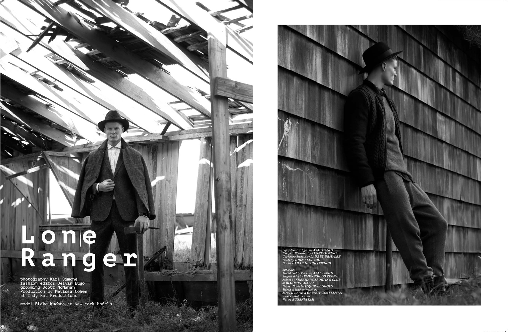 "Fashion photographer Karl Simone delivered exquisite fine captures for Client Style Guide USA in ""Lone Ranger"" starred by Blake Kuchta from New York Models, styled by Delvin Lugo in luxury garments. Grooming by Scott McMahan and Production by Melissa Cohen at indy Kat Productions."