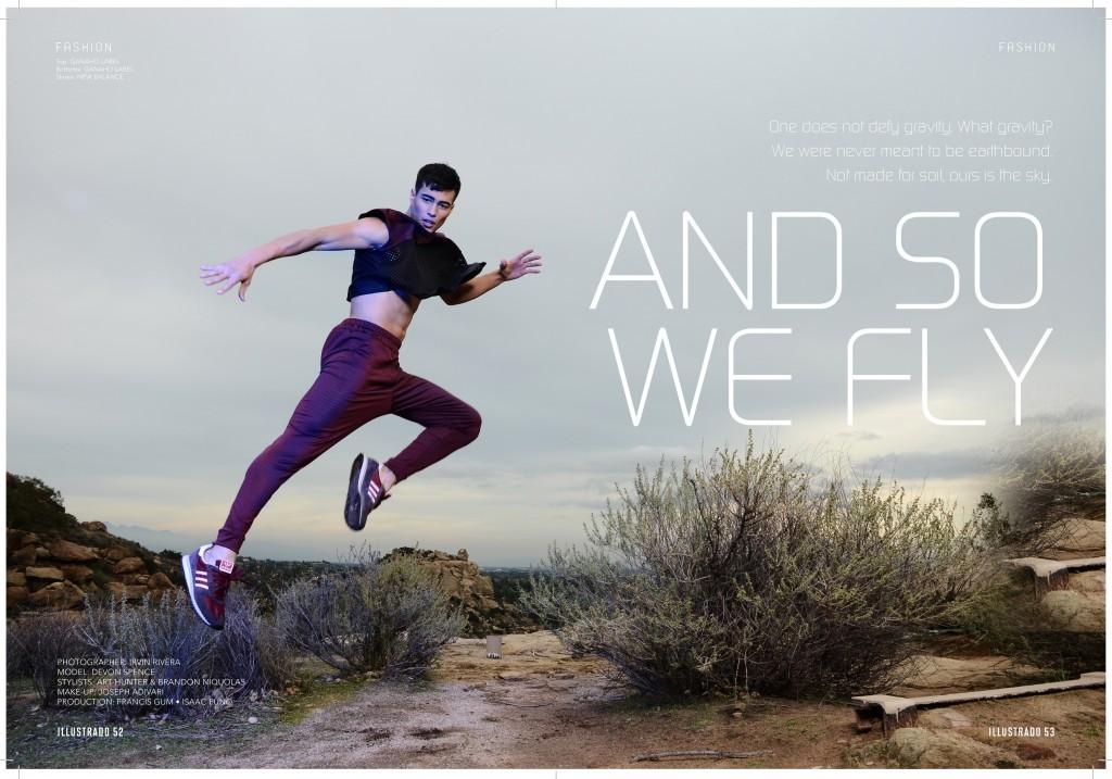 Devon Spence does some high flying for the latest issue of Illustrado Magazine shot by Irvin Rivera. Styling: Art Hunter and Brandon Nicholas Grooming: Joseph Adivari