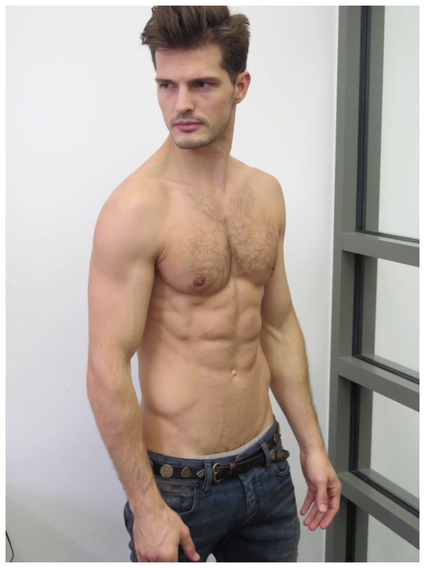 Brazilian model Diego Miguel stops by his Milanese agency WhyNot for new digital photos.