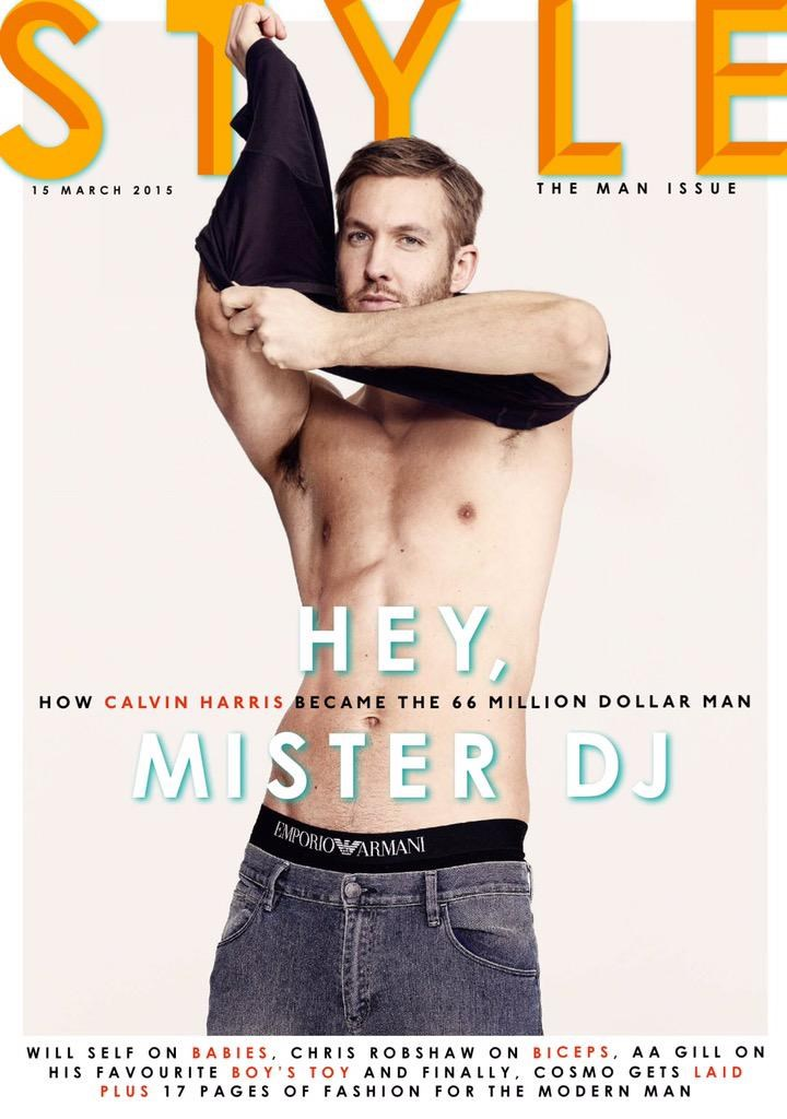 After starring ad shots from Ck Underwear, DJ of Dance Music and Producer Calvin Harris now posing for the cover of Sunday Times Style, shot by Aitken Jolly.