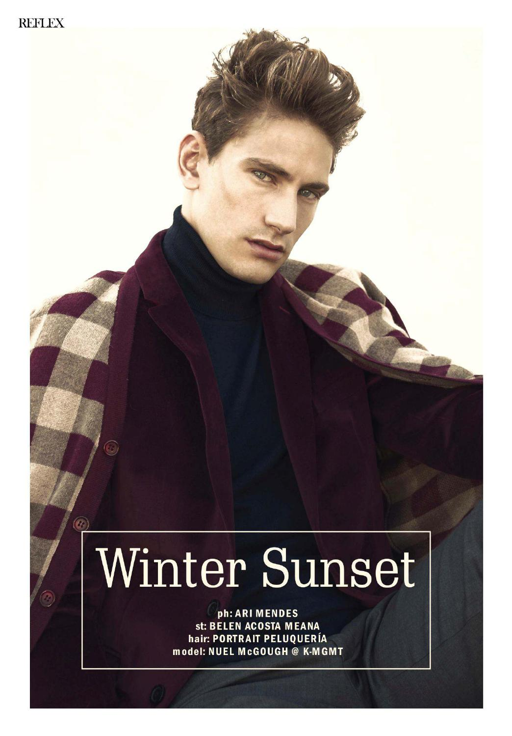 Reflex Homme March/April 2015 Winter Sunset Photographer: Ari Mendes. Stylist: Belén Acosta Meana. Hair: Peluquería Portrait.