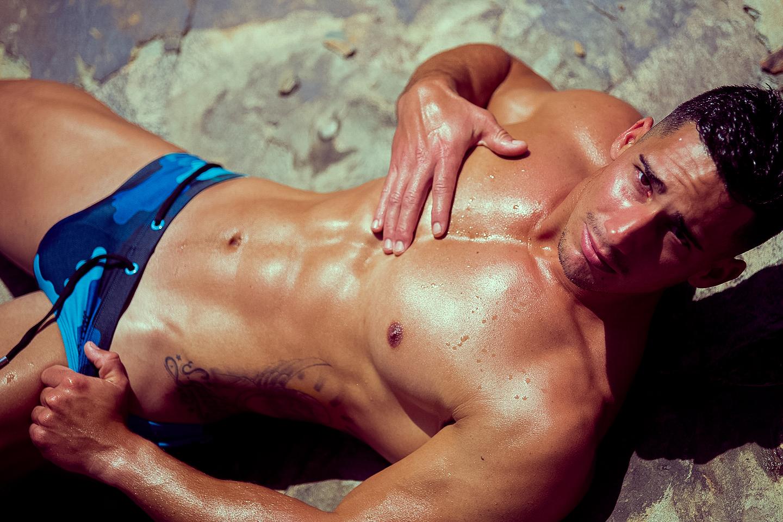 The bodybuilder Gabriel Arocha wows in the new swimwear line by BoysGetWet, shot by photographer extraordinaire, Adrián C. Martñin at Canary Islands.