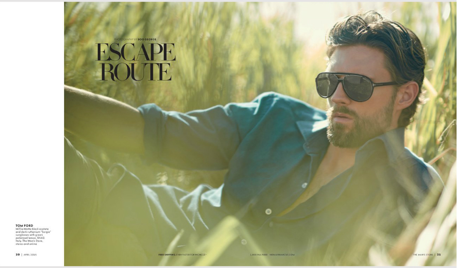 """Neiman Marcus April 2015 presents """"Escape Route"""" modeling RJ Rogenski shot by Photographer Boo George and Product Styling & Set Design by Jay Evers"""