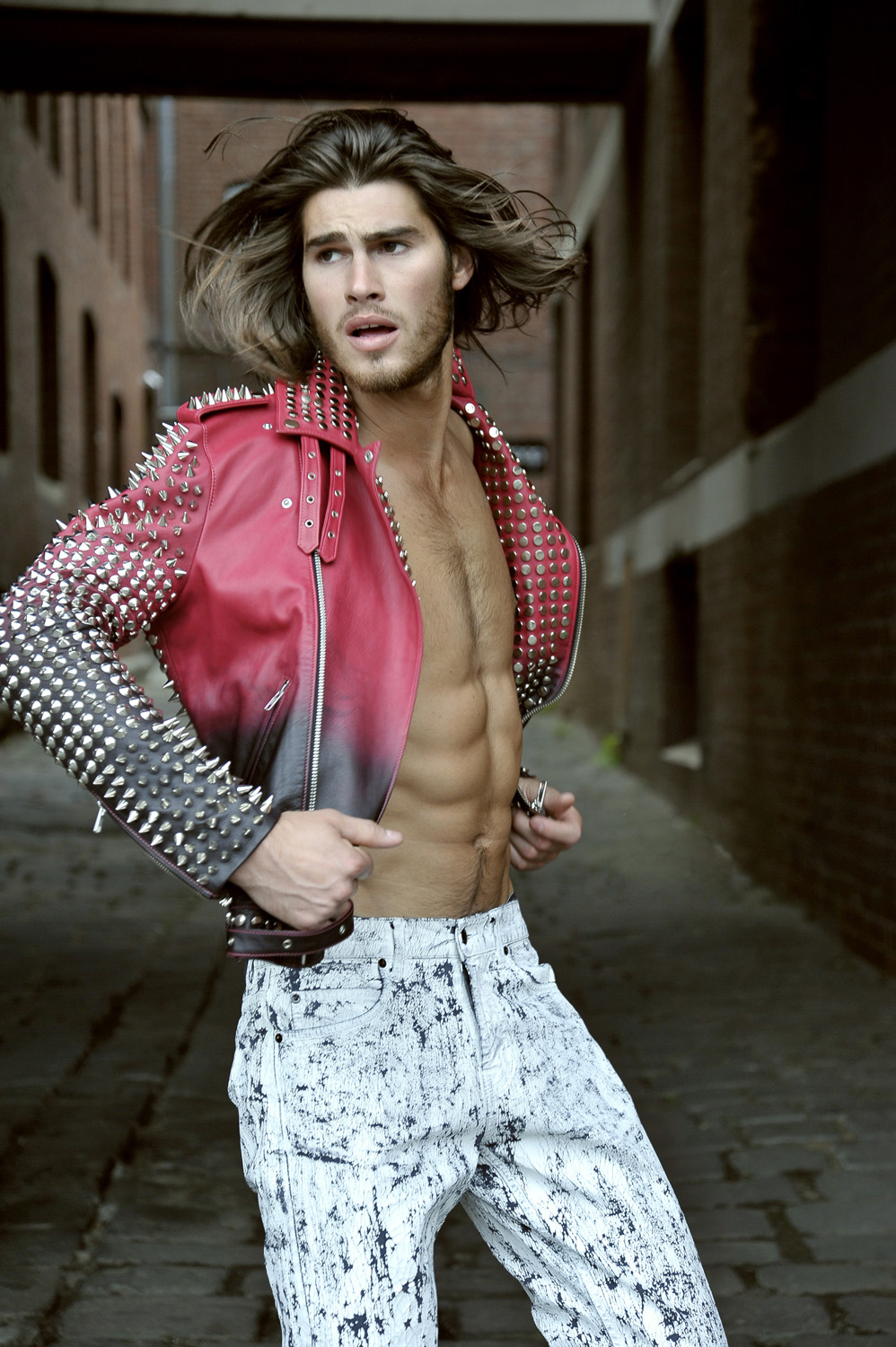 MELBOURNE ROCKSTAR Model Justin Lacko wears new Oscar Calvo Leather Studded Jacket and jeans from Alexander McQueen, photographed by Johnny Vision, styled by Melissa Nixon. You can pre-order this stunning jacket at www.oscarcalvo.com.au