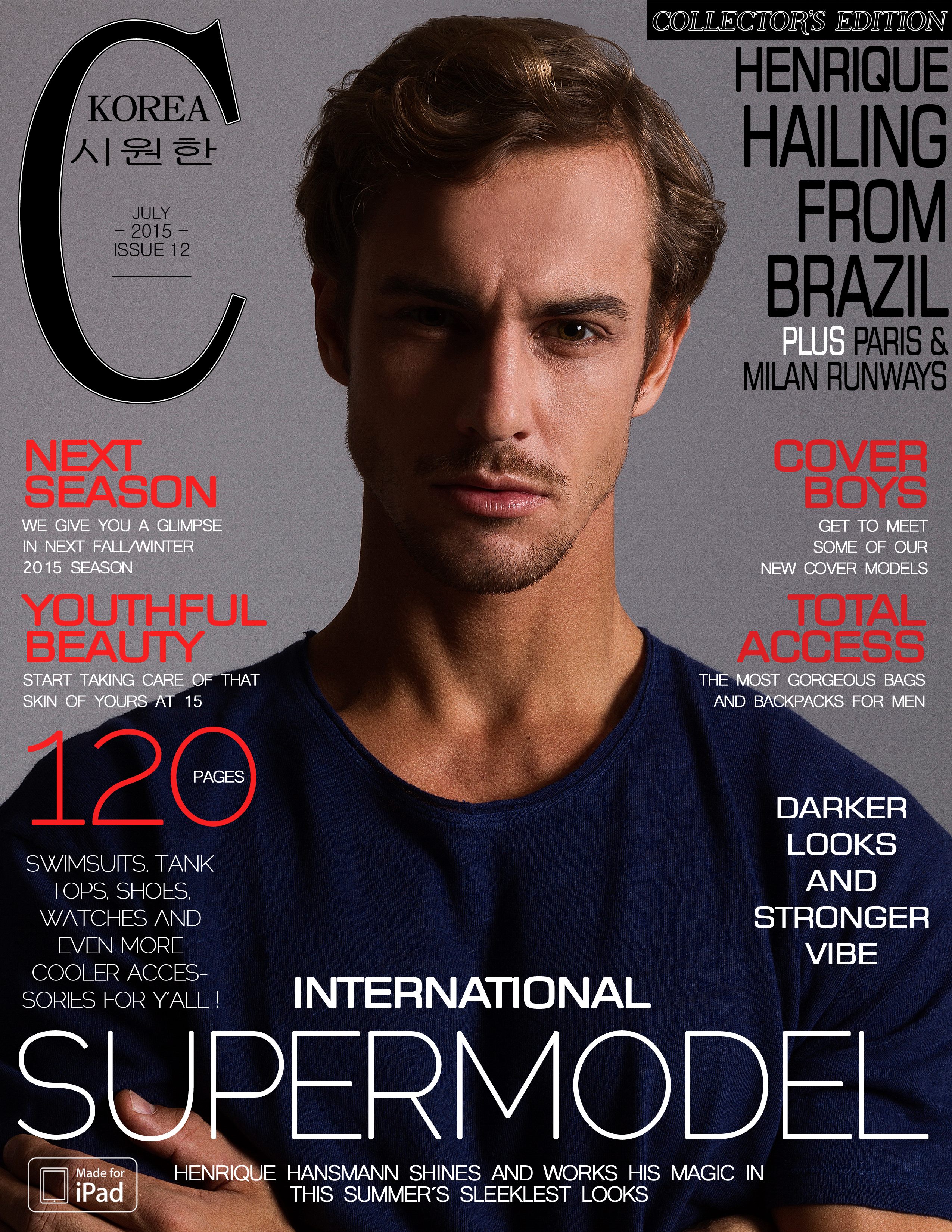 Brazilian Supermodel Henrique Hansmann covers the July issue of Cool Korea, marking the first time that the Brazilian sensation has done so. Flying to Europe he came to Madrid to shoot an exclusive story for the magazine. Styled and shot by Bertrand Vergnes, he was made up by Spanish makeup artist Miriam Franco. He also posed for a 14 pages fashion editorial spread featuring international Spanish brands.
