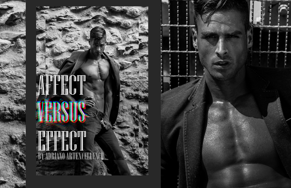 """We have to present the stunning work by International Brazilian Fashion Photographer, based in Switzerland Adriano Artexcellence, latest editorial entitled """"Affect VS Effect"""" with the amazing model and Mister of Switerland 2015, Pedro Mendes."""