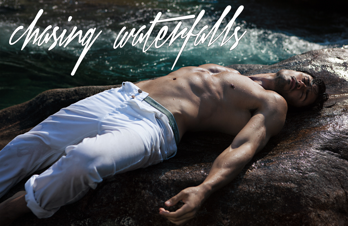 """Chasing Waterfalls"" stunning work by Alexis Dela Cruz with handsome newcomer Erich Revoredo from Glam Management Brazil and Karacter Models at Portugal, it was shot in the Swiss Alps and the clothes they used are from Calvin Klein and Zara."