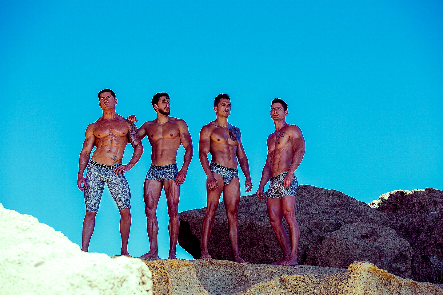 Underwear brand MaleBasics and photographer Adrián C. Martín team up to make a fitness motivational set with fitness models Eric Jurado, Airam Amador, Federico Averame and Javier Morales, all modeling the sexy pieces.