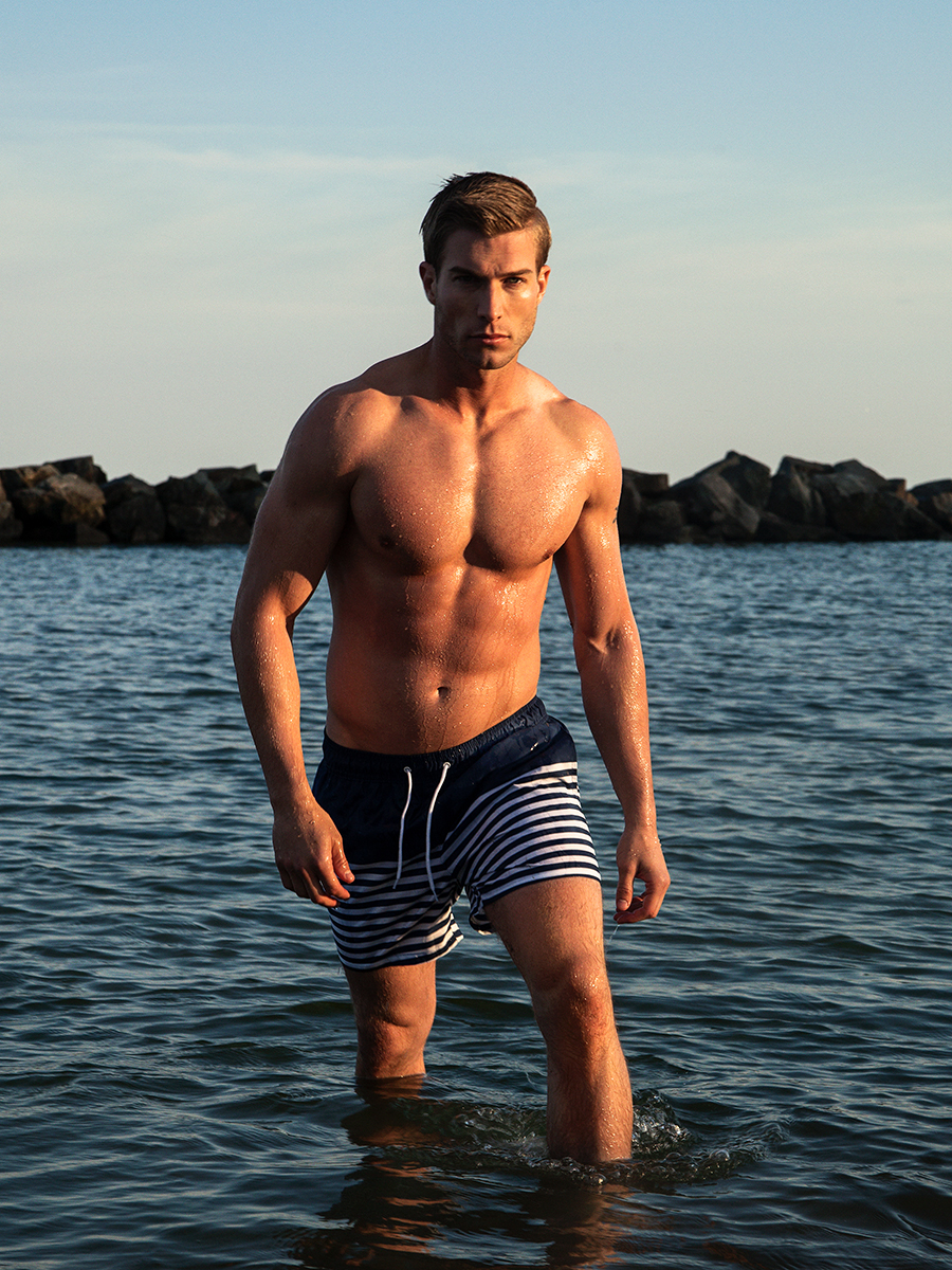 The recent work with Luke Severin and photographer Lawrence Cortez, Luke from Spot 6 Management and Elite Miami, this shot was captured just before his trip to Miami Swim Week. This was Luke's first body shoot at a beach to prep for Miami bringing on amazing energy.