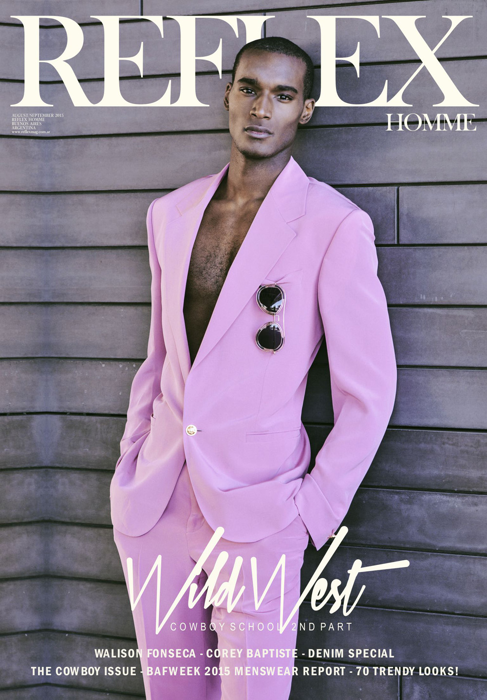 Top model Corey Baptiste (VNY Models) fronts new September 2015 cover issue for Reflex Magazine, photographed by Horacio Hamlet