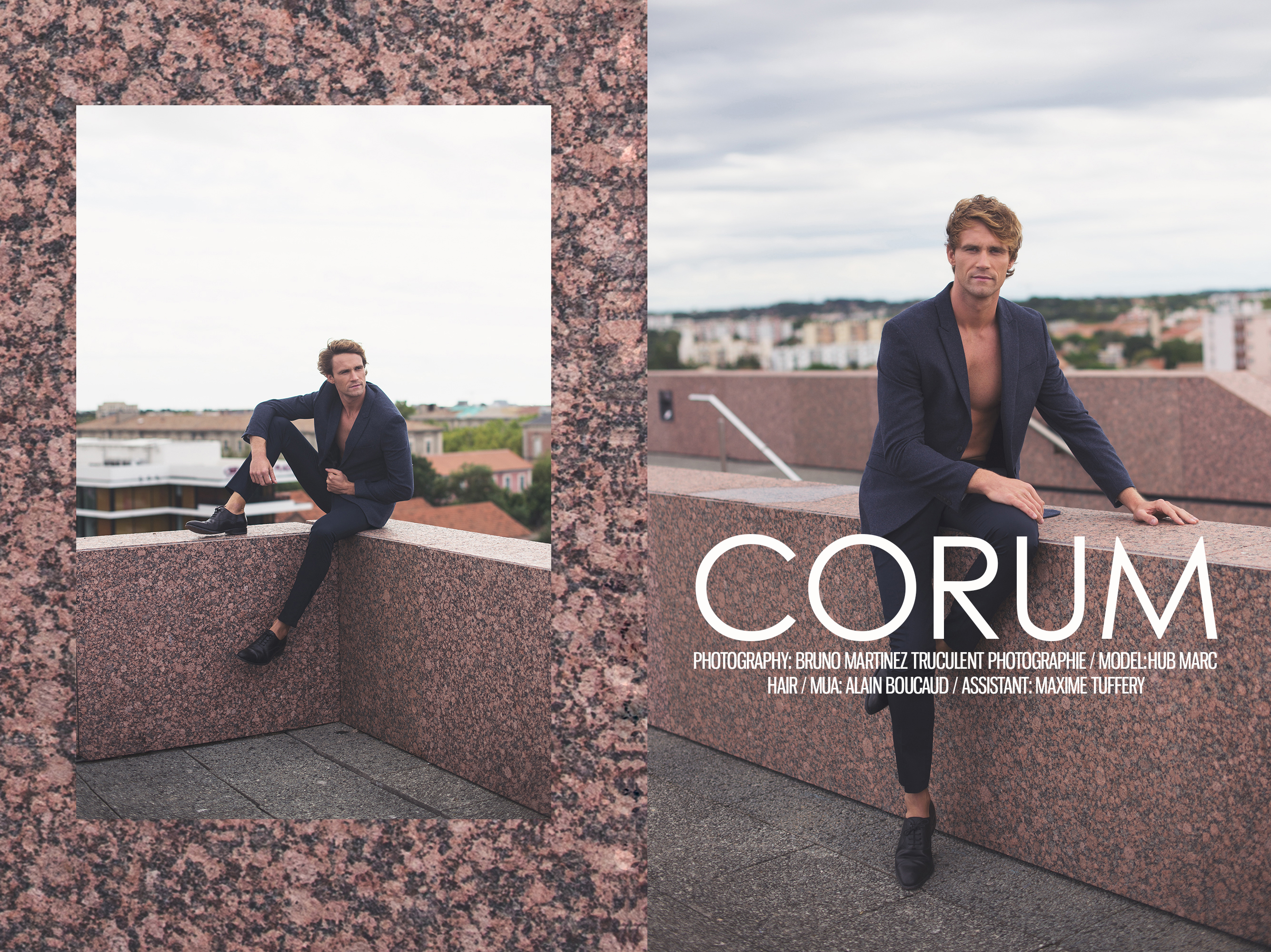 """Just in the right time, photographer Bruno Martinez presents in an exclusive for Fashionably Male, """"Corum"""" entitled like this because is a conference and concert hall in Montpellier. Featuring French male model Hub Marc posing and embracing with style that roof where Bruno snapped. He's the ideal model for that with his natural elegance and I like the fact that he's French."""