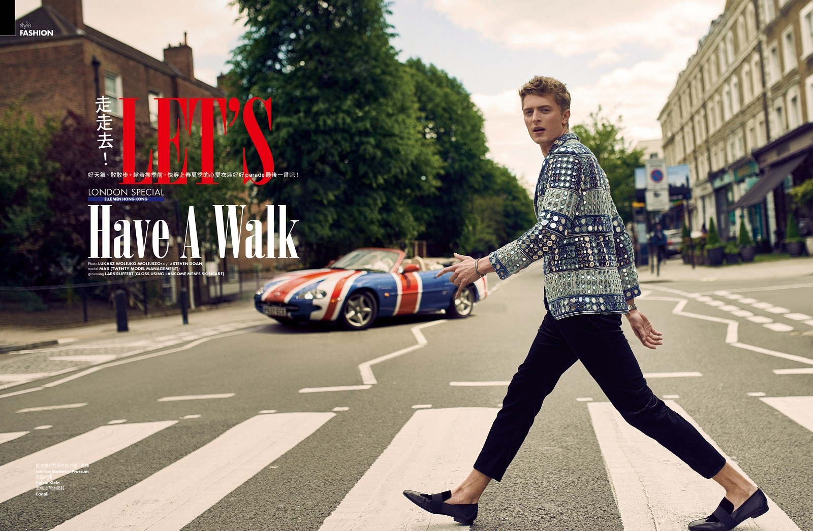 """Let's Have a Walk"" Max Rendell by Lukas Wolejko-Wolejszo for ELLE Men UK. Styled by Steven Doan and grooming by Lars Rüffert."