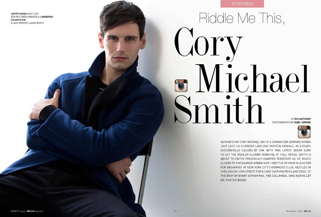 Here are new images of Cory Michael Smith for Bello Mag shot by talented Karl Simone. Styled by Darryl Glover.