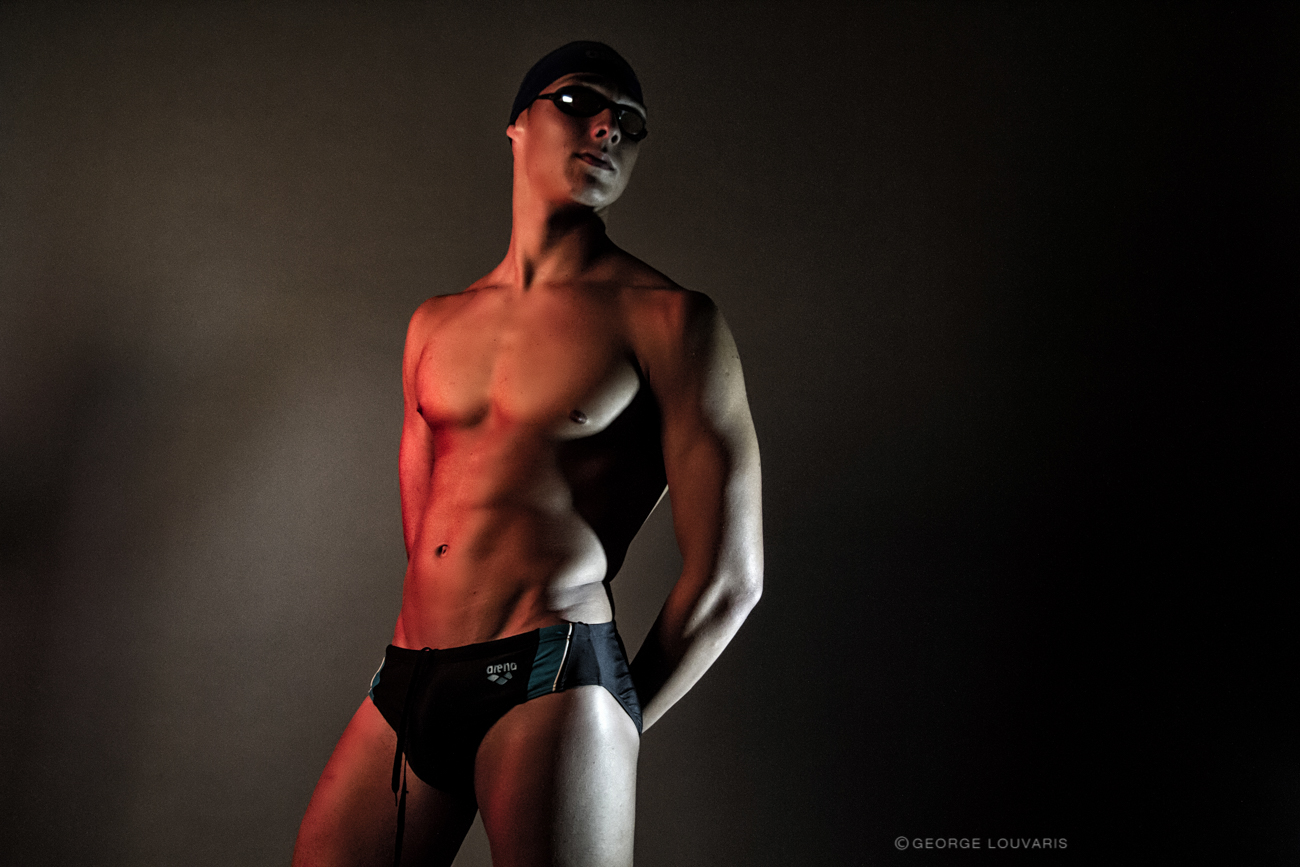 """Professional swimmer Panagiotis Xiotis is the new promising new face in the submission entitled """"Lights and colors"""" photographed by George Louvaris, Creative Director-grooming Raftopoulos Argiris, suite swimming and accesories : Arena and Marketing Director : Georgia Paraschou."""