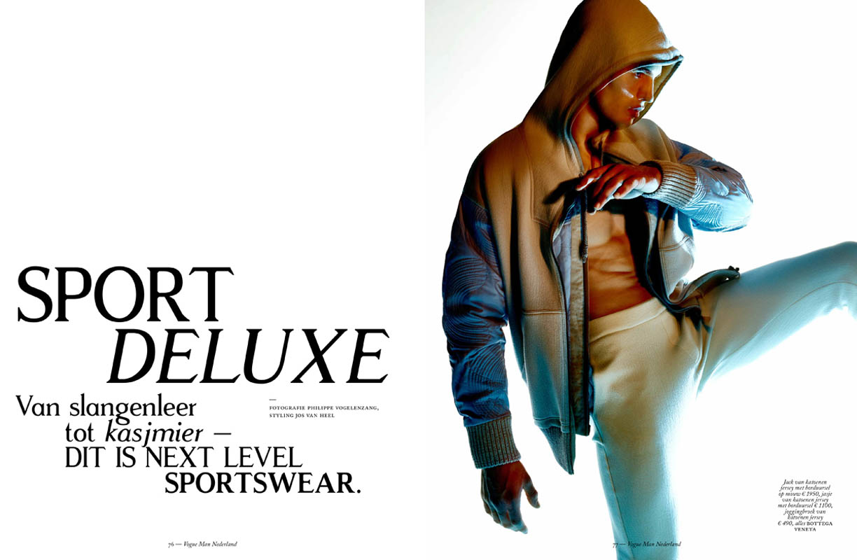 Sport Deluxe' for Vogue Man Nederland. Photographer: Philippe Vogelenzang. Styling by Jos van Heel.