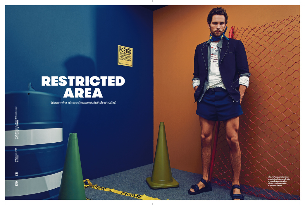"""Restricted Area"" for L'Optimum Thailand March 2016 issue. Stars Tobias Sorensen (IMG Models) and Torin Verdone (VNY Models) captured by Director/Fashion photographer based in NYC SHXPIR. Styled by DaVian Lain."