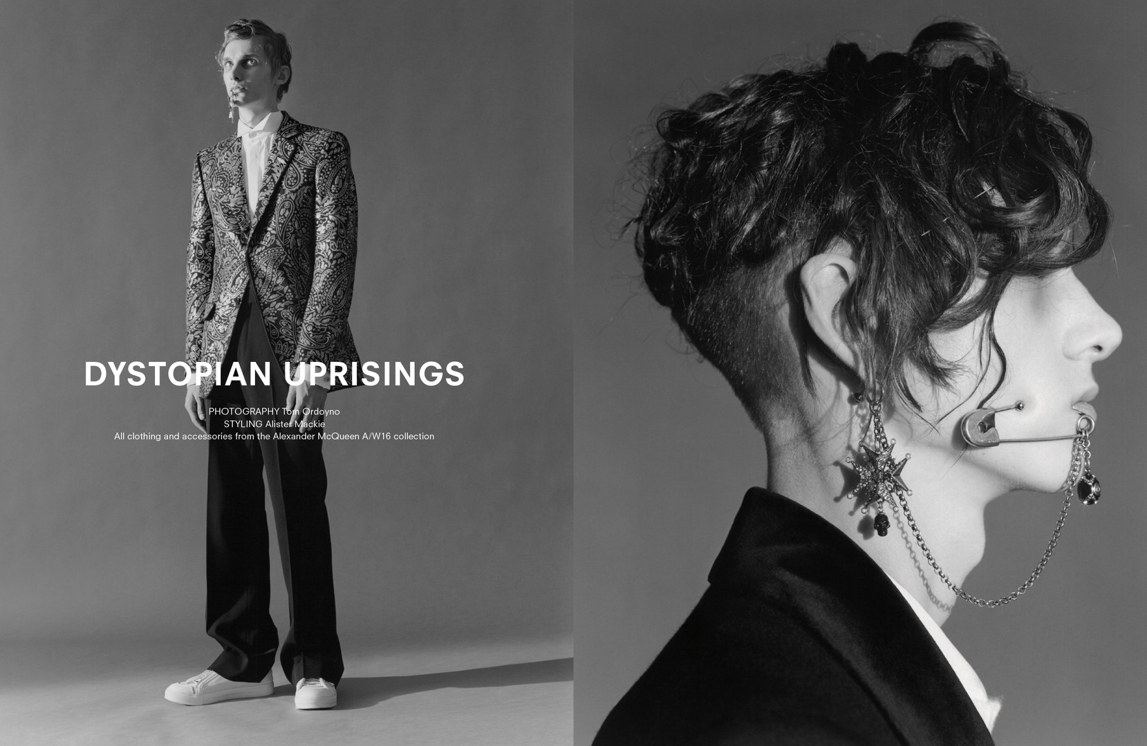 """Dystopian Uprising"" Photographer: Tom Ordoyno, Stylist: Alister Mackie for AnOther Man Spring/Summer 2016. All clothing and accessories by Alexander McQueen F/W 2015-16 Collection."