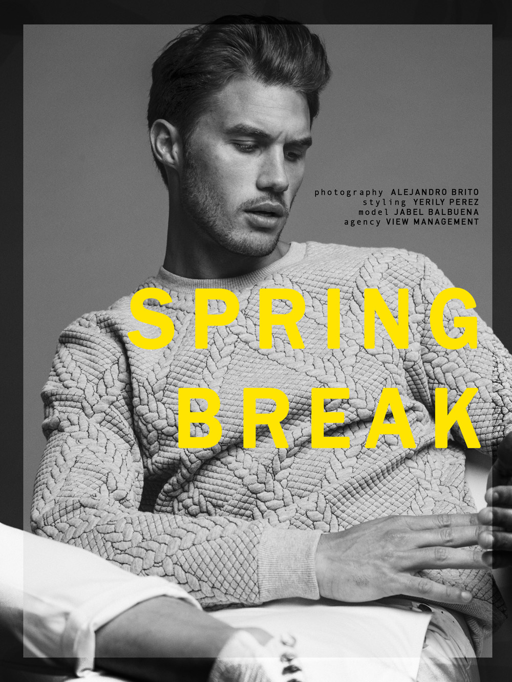 """Jabel Balbuena poses for a new story named """"Spring Break"""" pictured by Alejandro Brito and styled by Yerily Perez."""