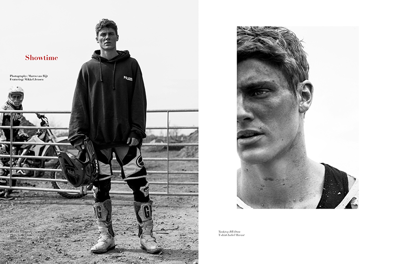 Mikkel Jensen stars an editorial for Hercules Universal Magazine latest edition. The model plays the role of the rugged motorcycle racer photographed by Marco van Rijt.