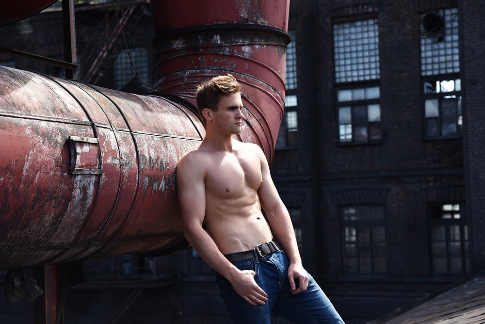 Russia for AURORA Models agency. His name is Vasily, besides a model he is a kick boxer as well! We did it in RED TRIANGLE in St. Petersburg, once worlds biggest rubber factory and now completely abandoned! Location is amazing, same as everything else in Russia! Everything just has to be BIG!