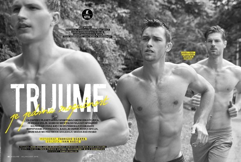"Workouts & Brotherhood check ""Trijumf"" on Esquire Serbia the new fitness editorial August 2016 issue starring by Nathaniel Visser, Adrian Cardoso, Thor Henriksen and Lucas Garcez, shot by Fabrizio Scarpa."