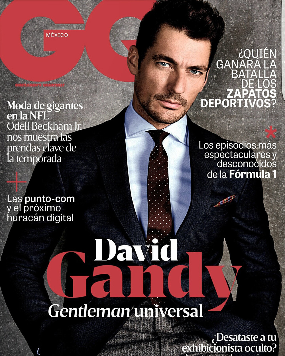 """""""English Gentleman"""" Top model David Gandy fronts new cover for GQ Mexico October 2016 Issue the story photography by Richard Ramos and styled by Lorna McGee. Art Direction by Fernando Carrillo and Alonso Parra and grooming by Larry King."""